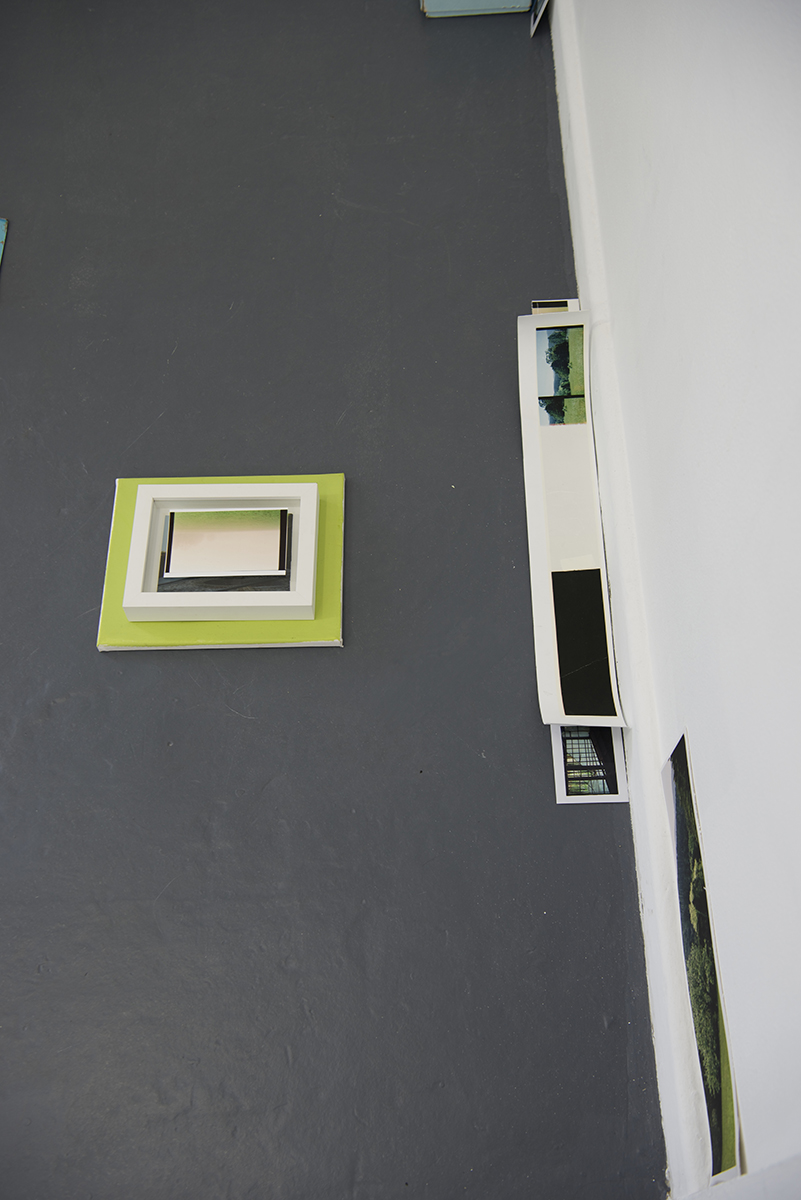 'Series 5: Strips of photographic prints, frames and painted canvas – various shades of green. Installation View Details. Blindside, Melbourne. 2016.