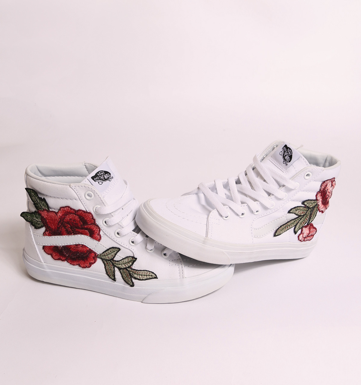 white vans with roses