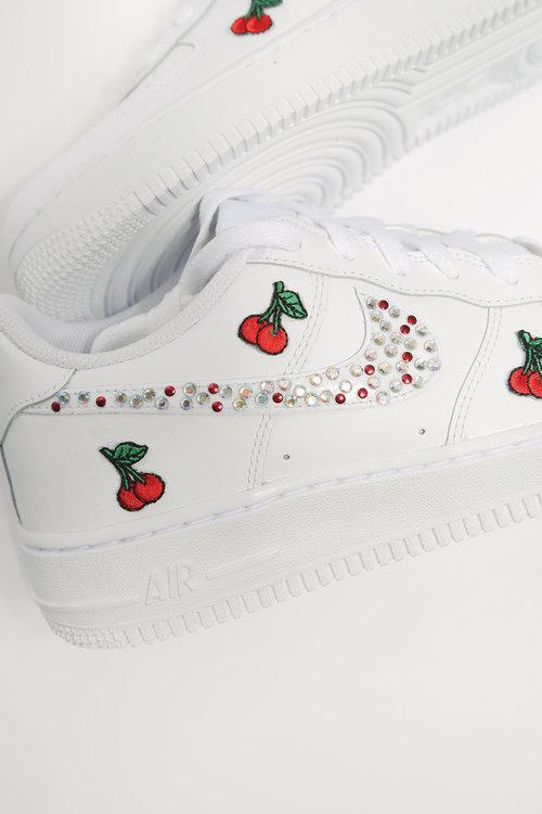 Custom Cherry Diamonds White Nike Air Force 1 Iamkoko La