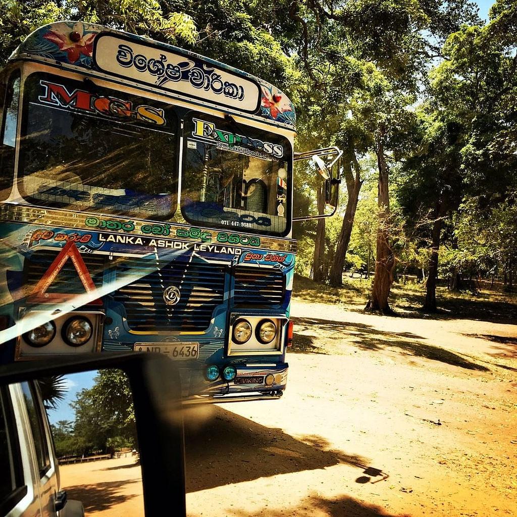 Ultrapassagem.  #Hipstamatic #Jane #Irom2000 #ceylon #polonnaruwa #bus #contryside #ruins #history #modernity #colorful