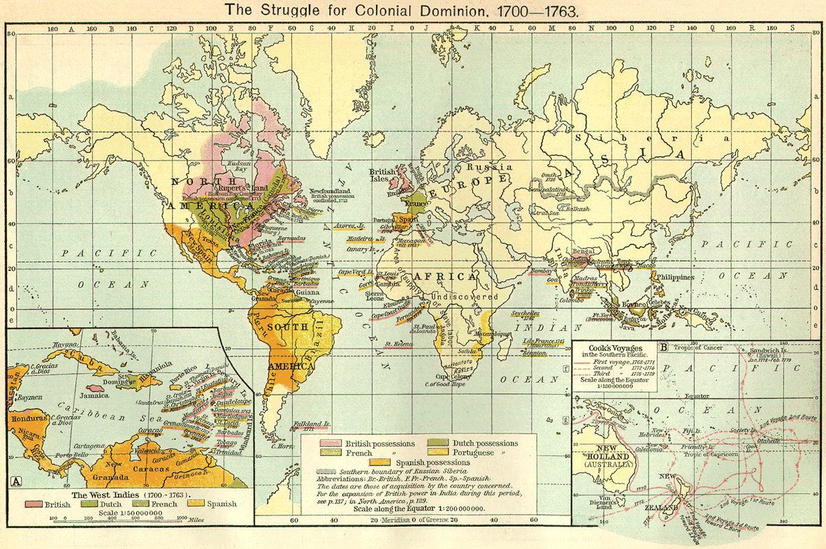 mapsontheweb :     The Struggle for Colonial Dominion, 1700 - 1763