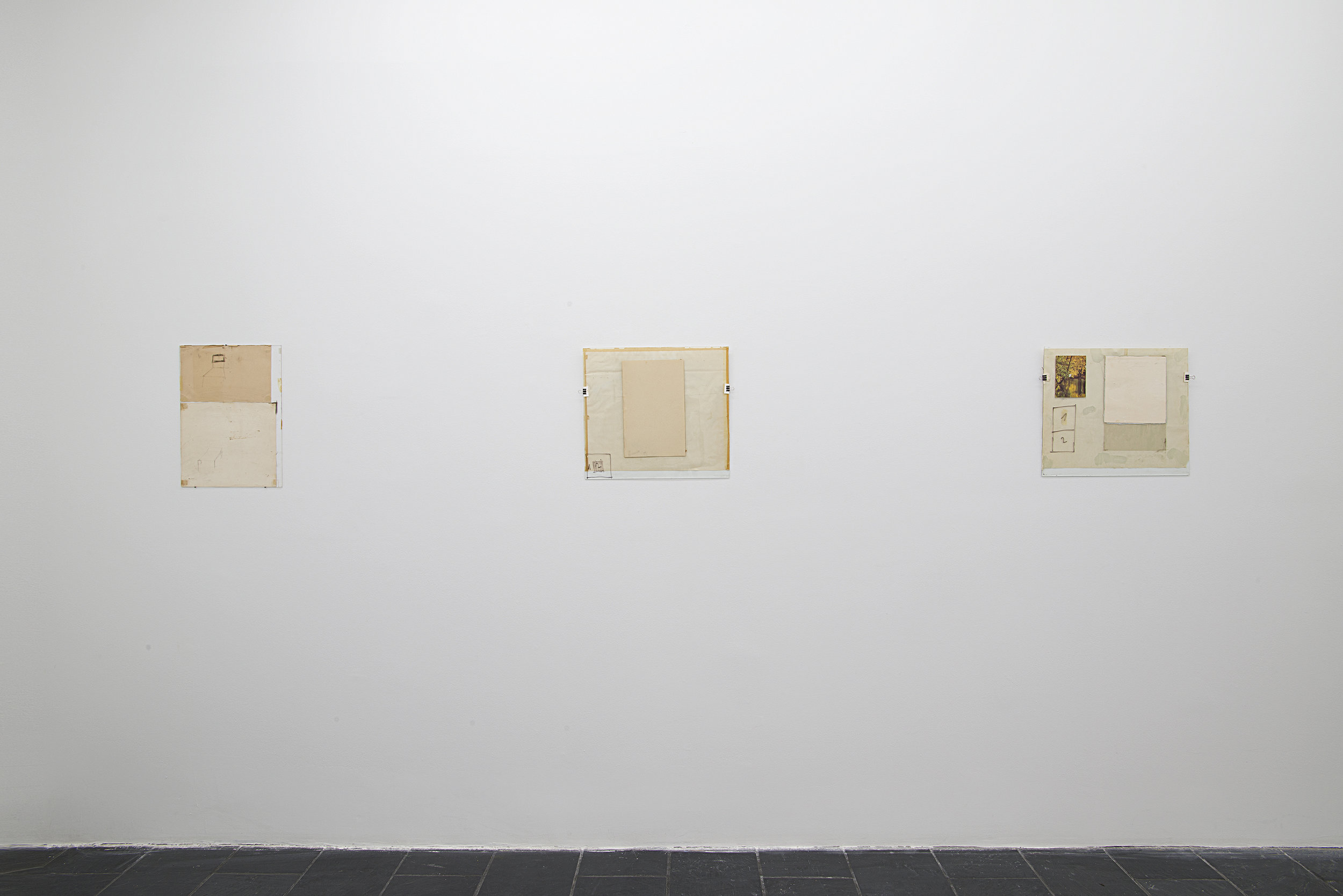 Installation view: Nahum Tevet: Works on Glass, 1972–1975 , Hunter College Art Galleries, 2016. Photo by Bill Orcutt.Left to right: Untitled #36, 1975; Untitled #24, 1975; Untitled #26, 1975.