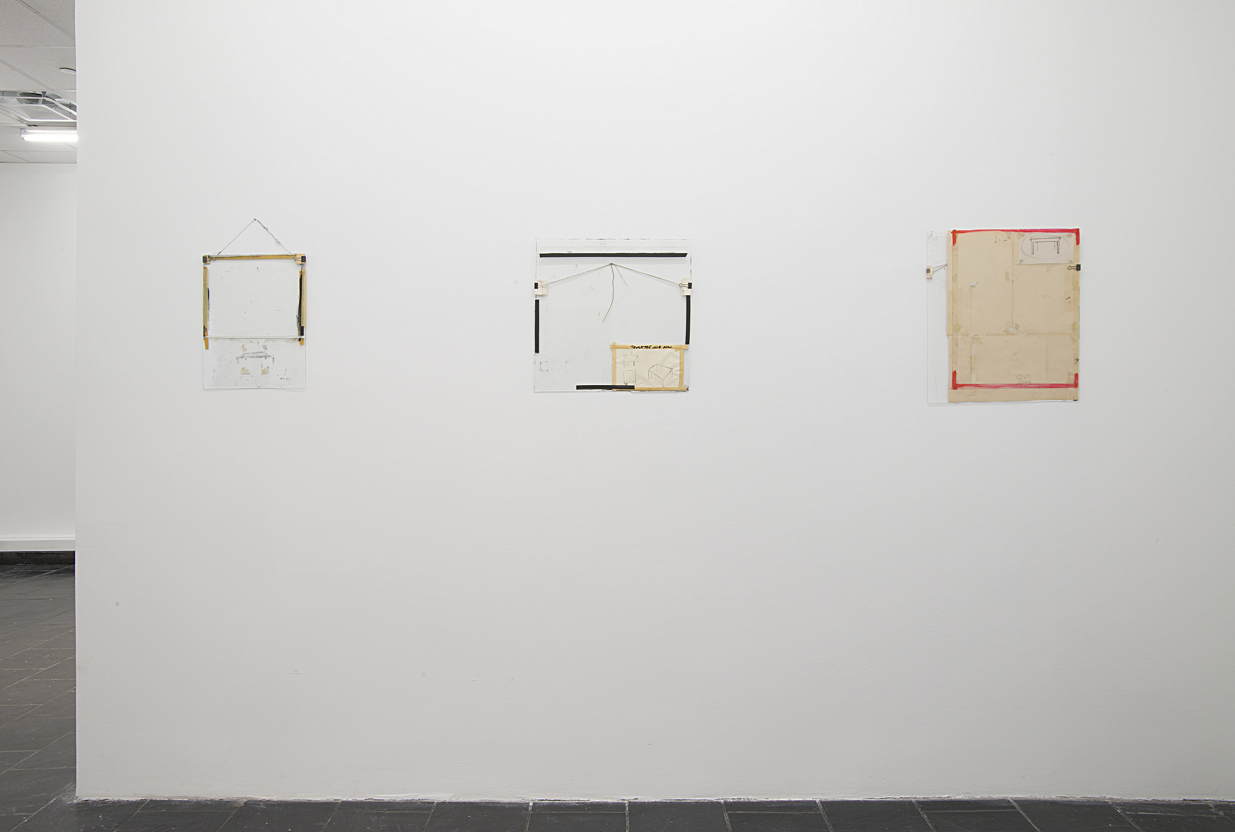 Installation view: Nahum Tevet: Works on Glass, 1972–1975 , Hunter College Art Galleries, 2016. Photo by Bill Orcutt.Left to right: Untitled #14, 1974; Untitled #29, 1975; Untitled #33, 1975.