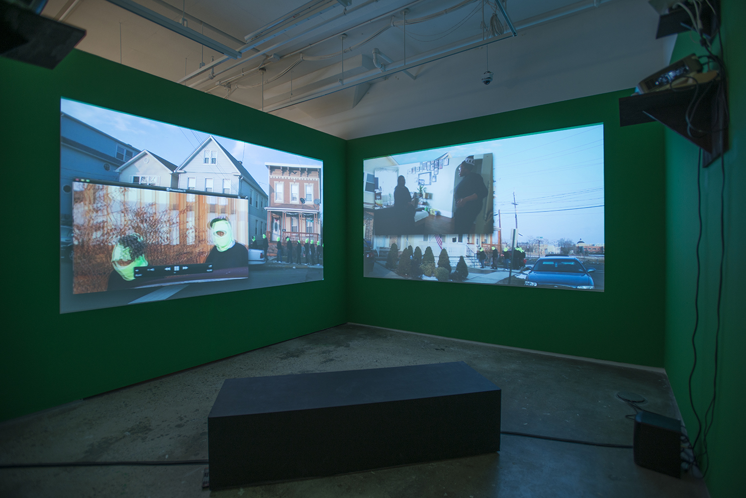 Installation view:  Elective Affinities: A Library , Hunter College Art Galleries, 2017. Sondra Perry,  Lineage for a Multiple-Monitor Workstation: Number One , 2015. Courtesy of Electronic Arts Intermix (EAI), NYC and the artist. Photo by Bill Orcutt.