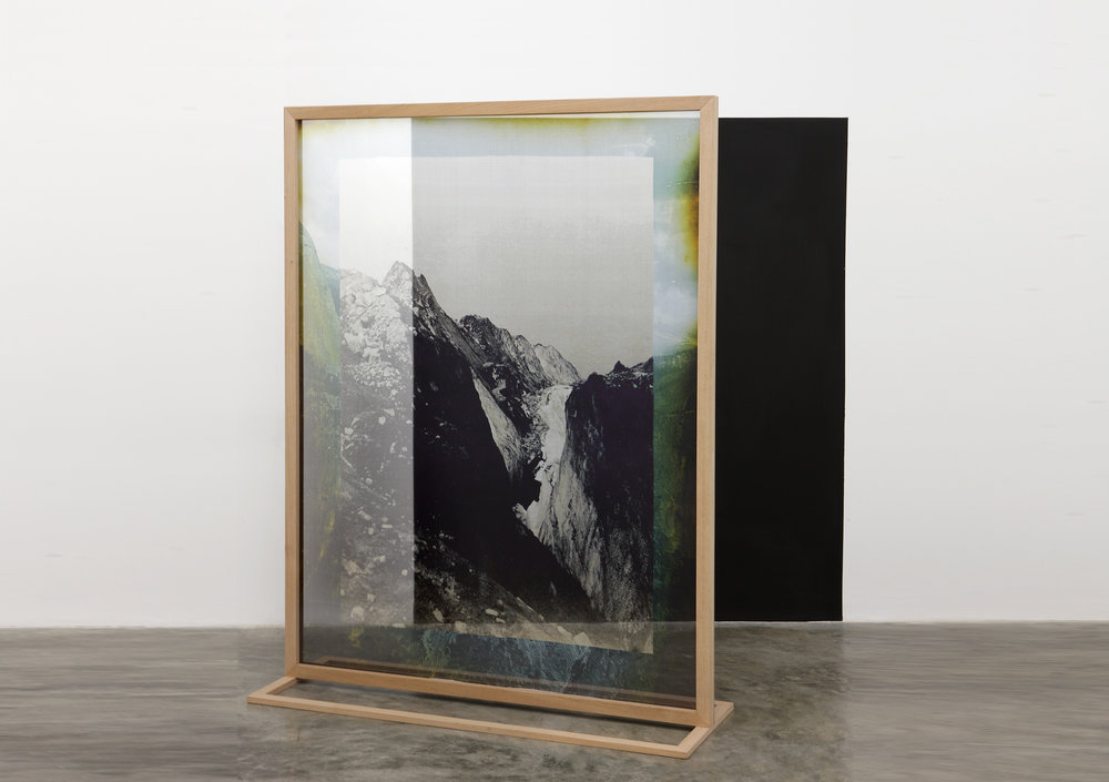 Elena Damiani,    Fading Field No. 1,  2012.   Digital print on silk chiffon, wood structure, and black matte paint on wall, 73 5/8 x 56 ¼ inches.   The Museum of Modern Art. Promised gift of Patricia Phelps de Cisneros through the Latin American and Caribbean Fund in honor of Mimi Haas.