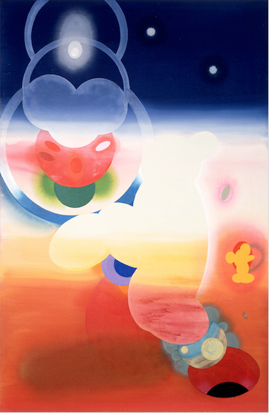Stephen Mueller  Hey Tira Mi Su , 1995 Acrylic on canvas 92 × 60 inches Courtesy of Lennon, Weinberg, Inc., New York and Texas Gallery, Houston
