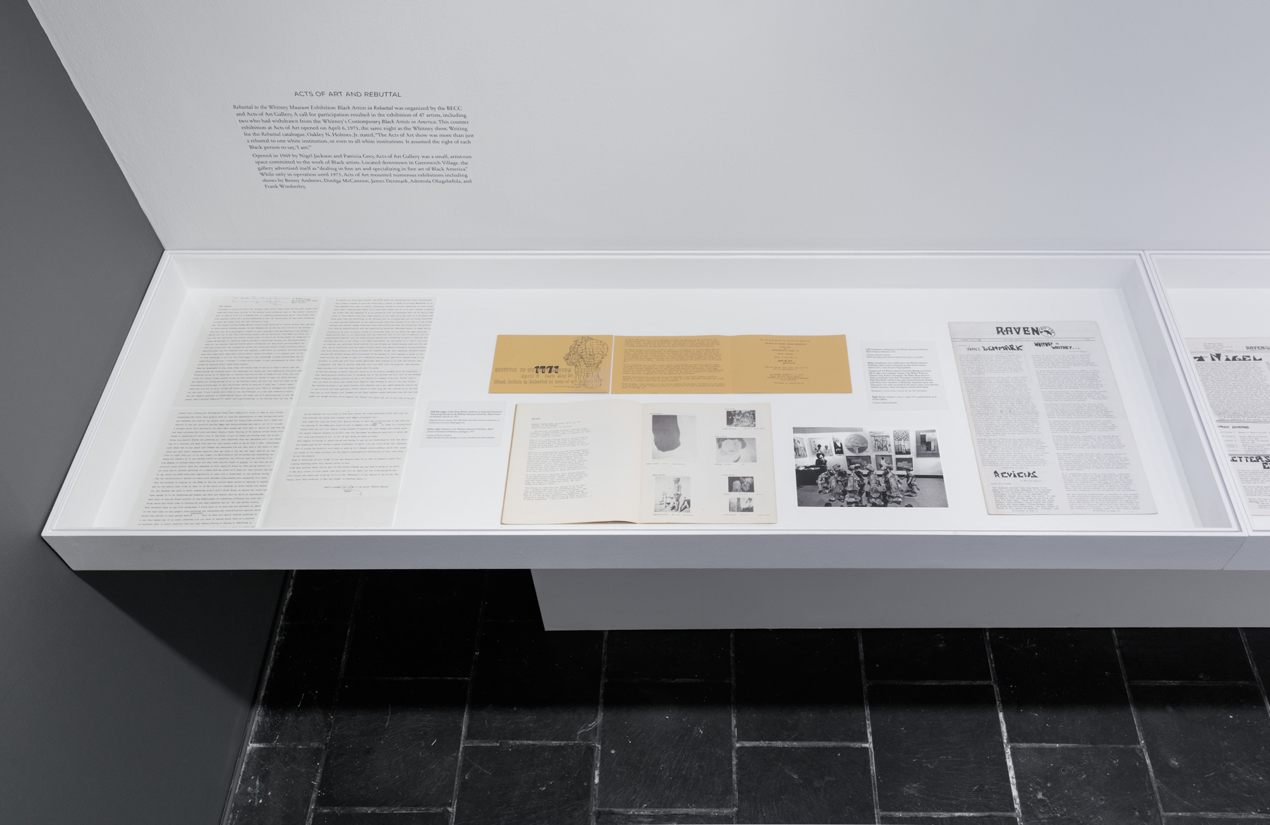 Installation view:  Acts of Art and Rebuttal in 1971 , Hunter College Art Galleries, 2018. Photo by Stan Narten.