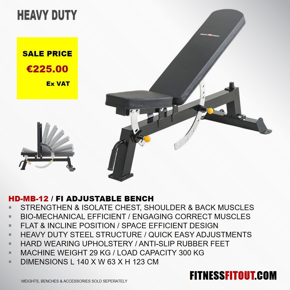 HEAVY DUTY  FI ADJUSTABLE BENCH