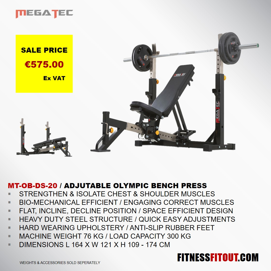 MEGATEC  ADJUSTABLE OLYMPIC BENCH PRESS