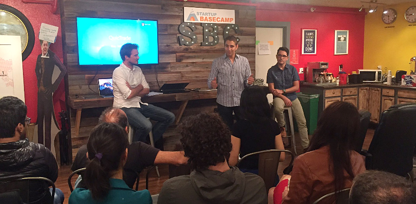 Guillaume de Dorlodot, Chris Haroun and Rigley Dutra presenting to startups at a venture capital event hosted by Startup Basecamp.