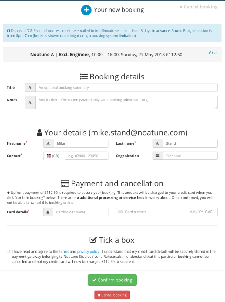 Book and Pay Online - Carefully review the details of your booking and enter your card details where specified to pay.Be sure to check the price and double check you have not booked in any calendar that says Monthly Bundle.If you a Monthly bundle user please write