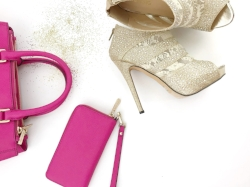 Pink Purse + Gold Shoes + Stock Photo