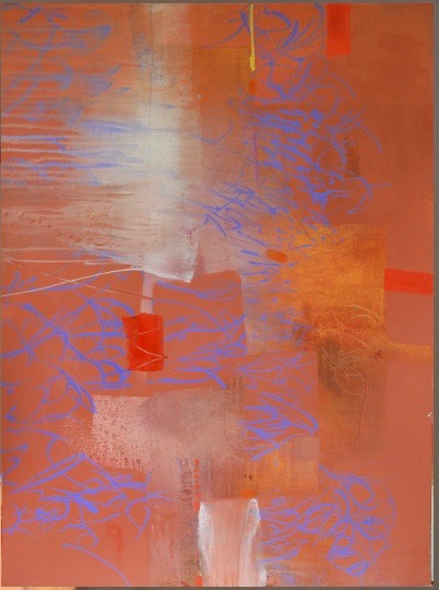 Penny Putnam, Brick and Blue, mixed media on canvas, 44 x 35 inches. $7,000.