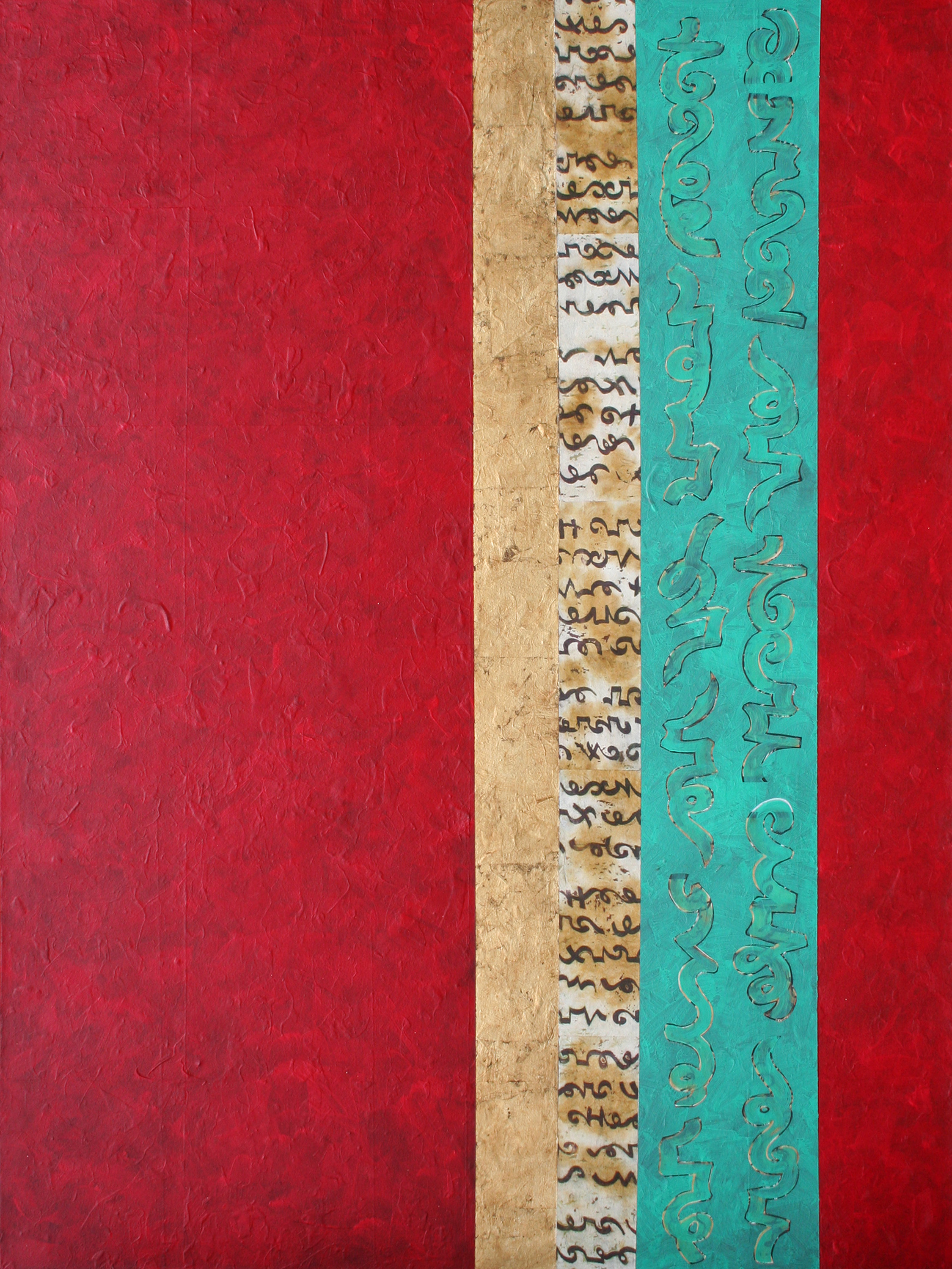 """Heidi Lewis Coleman ,  REVERIE, Acrylic & Cut Paper with Gold Leaf on Canvas, 48"""" x 36""""  Price: $2,000"""