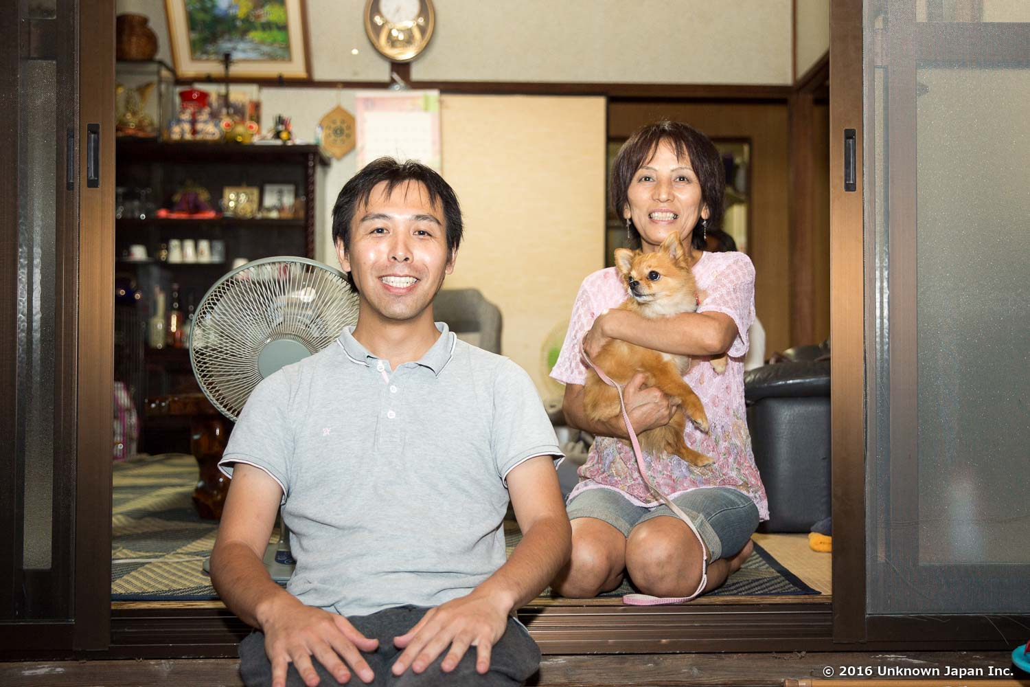 With the manager  Nobuko Harada  and her dog  Chie-chan , at the reception
