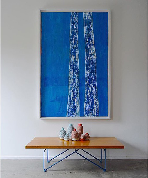 Meghan Gerety  Blue Trees,  2014 blockprint ink on paper 68 x 42 in.framed SOLD