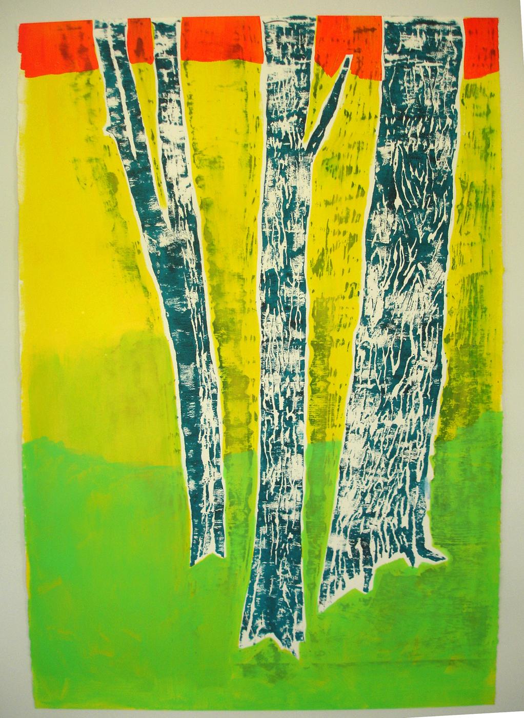 Meghan Gerety  Orange, Yellow, Green Trees , 2012 blockprint ink on paper 32 x 22 in.framed