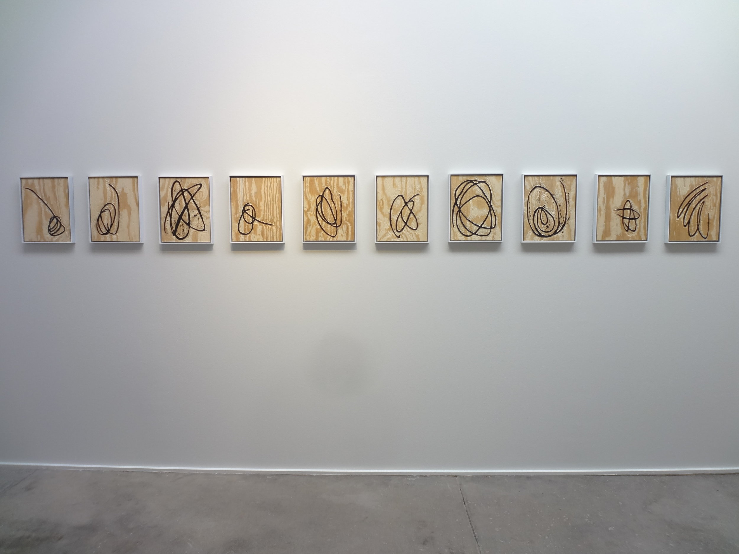 Meghan Gerety Installation View  Untitled , 2015 blockprint ink on plywood  15 x 12 in.each framed in aluminum