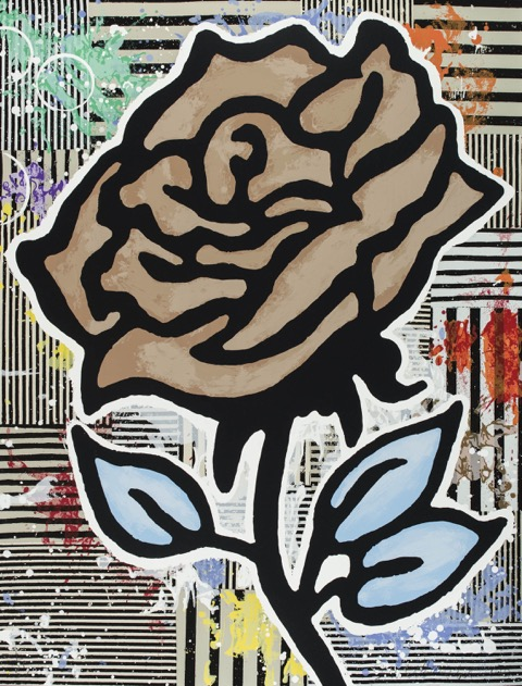 Donald Baechler  Six Roses (Brown)  , 2015 28-color silkscreen on 2-ply museum board 40 x 31 in. edition of 35