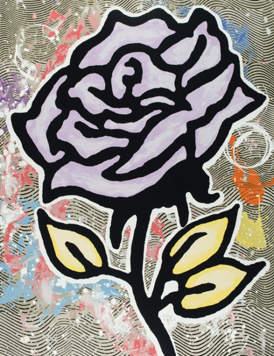 Donald Baechler  Six Roses (Lavendae)  , 2015 28-color silkscreen on 2-ply museum board 40 x 31 in. edition of 35