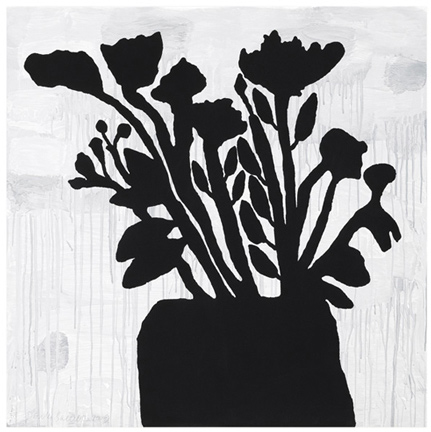 Donald Baechler  Flowers in Vase, 2009 9-color silkscreen with flocking on 4-ply museum board 58 x 58 in. edition of 50
