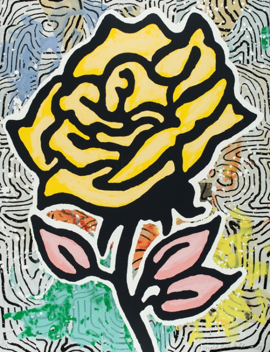 Donald Baechler  Six Roses (Yellow)  , 2015 28-color silkscreen on 2-ply museum board 40 x 31 in. edition of 35