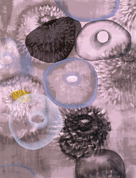 Ross Bleckner  Happiness for Instance I ,1997 17-color silkscreen 42 x 32 in. edition of 75