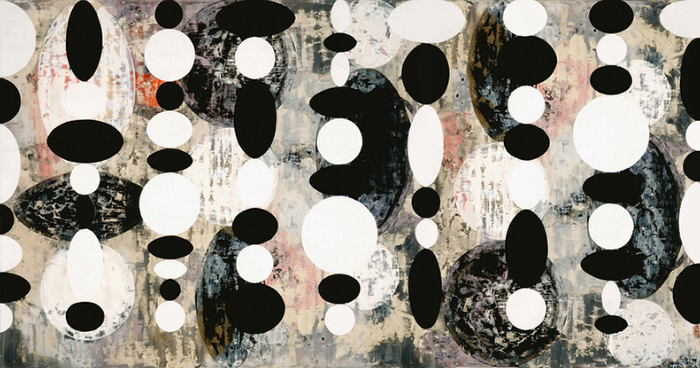 Perry Burns  Moonscape ,2008 multiple plate monoprint, pigment print, gouache, graphite, charcoal on paper 15 1/2 x 29 1/2 in.