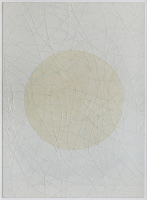 Olivia Munroe  Th ere?, 2015 beeswax, cloth, string, on vintage hand made paper 44 × 32 in. SOLD
