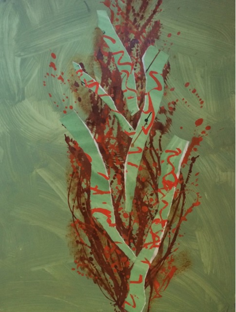 Catharine Warren  Untitled (Cypress Series-Green) , 2001-2002 mixed media on paper 50 × 38 in.