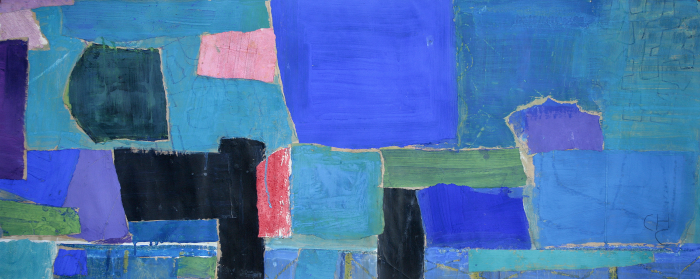 Charlotte Culot  Amagansett ,2015 mixed media on paper 22 x 51 1/2 in. (framed dimensions)