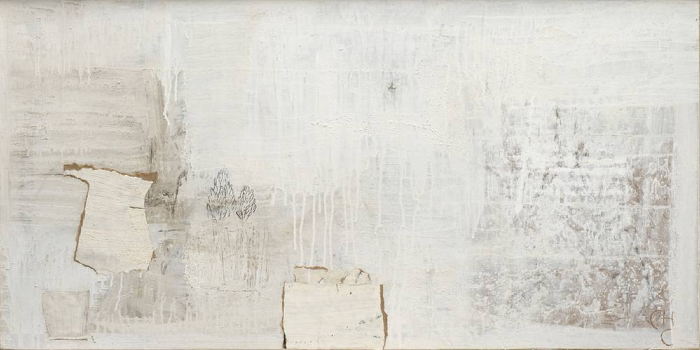 Charlotte Culot  White Daily IV  2012  Oil and mixed media on paper laid down on canvas  19 3/4 x 39 1/2 in. (21 1/4 x 41 in. framed)