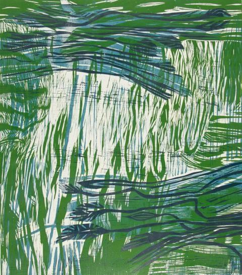Michael Rich  Spring Flowers and the Venetian Sea XII , 2015 woodcut monoprint 31 × 27 1/2 in.