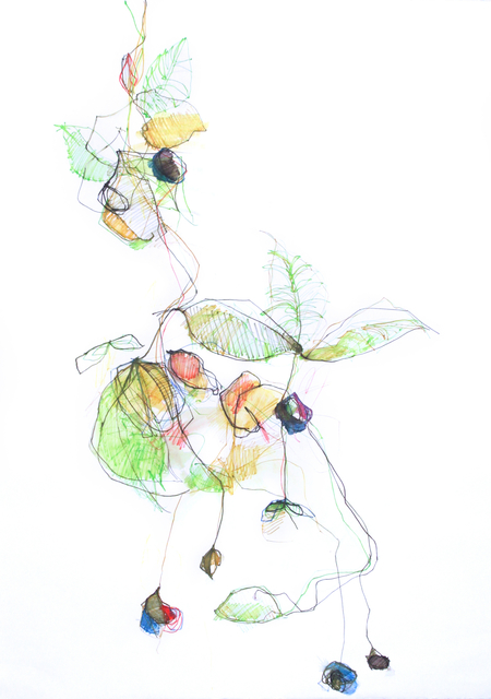 Michael Rich  Vines on a Transparent Day , 2013 mixed media on paper 42 × 30 in.