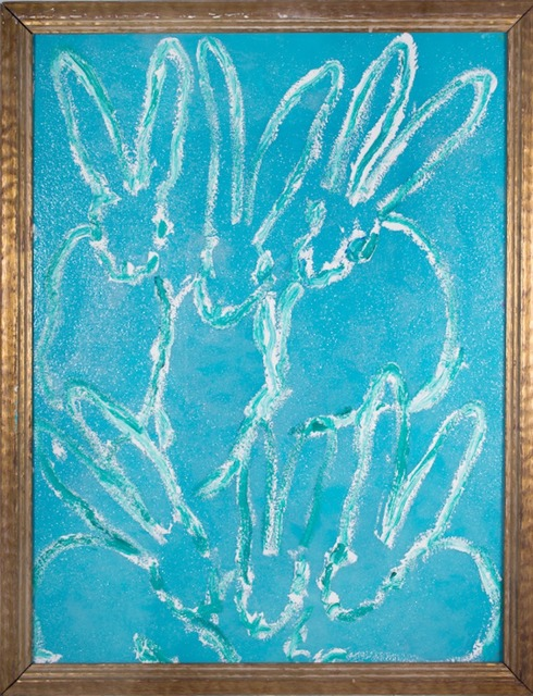 Hunt Slonem  Saphire , 2015 oil on wood with aqua blue diamond dust background 40 × 30 in.