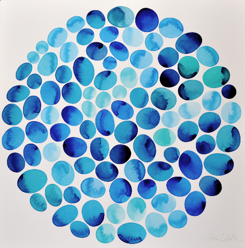 Idoline Duke  Summer Pools III  (#12.1.PO), 2014 watercolor on paper 30 x 30 in.