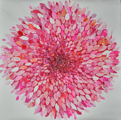 Idoline Duke  Big Pink Flower,  2016 watercolor on paper 48 x 48 in.