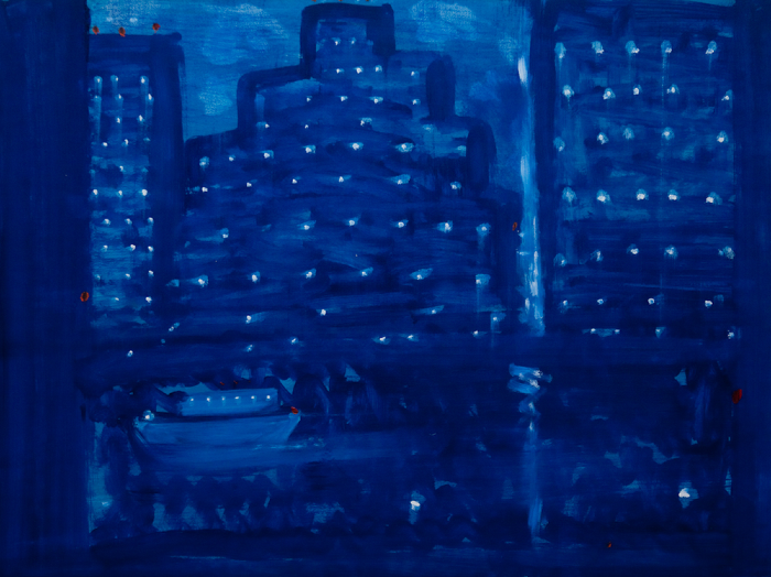Kathryn Lynch  Cityscape with small boat  oil on paper 22 1/4 x 29 3/4 in.