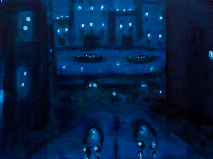Kathryn Lynch  Cars with 2 boats in background  oil on paper 22 1/4 x 29 3/4 in.