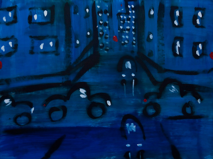Kathryn Lynch  City with Cars  oil on paper 22 1/4 x 29 3/4 in.