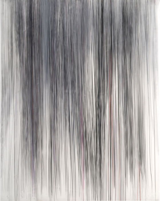 Jaanika Peerna  Falls of Solitude 6 ,2014 graphite, metallic and color pencils on two layers of mylar 7 x 36 in.