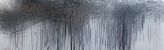 Jaanika Peerna  Storm Series #66 , 2012 graphite and color pencil on mylar 11 x 36 in.