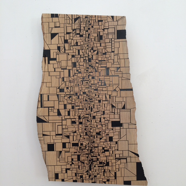 Jason Middlebrook  It's hard to imagine a world, 2014-2015 acrylic on maple 22 x 13 x 1 in. SOLD