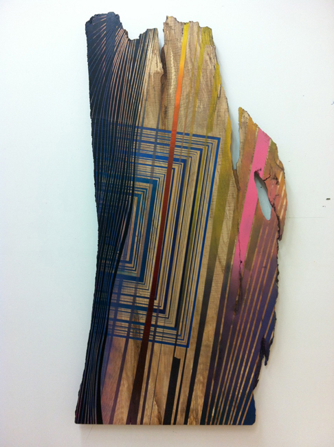 Jason Middlebrook  Sandwiched Between the Great Lakes, 2012 acrylic and spray paint on curly maple 60 3/4 x 28 x 1 1/2 in.