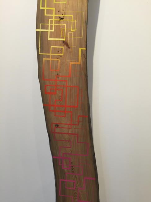Jason Middlebrook  Taken from the Savannah River #2, 2013 double-sided plank, acrylic on cypress 132 x 10 x 1 in.
