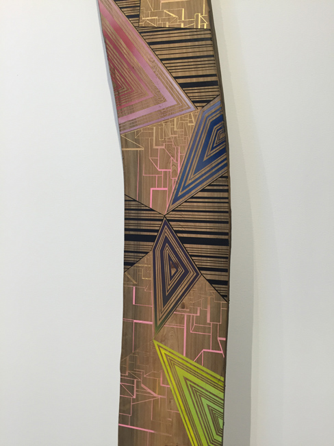 Jason Middlebrook  Taken from the Savannah River #4, 2013 double-sided plank, acrylic on cypress 120 x 10 x 1 in.