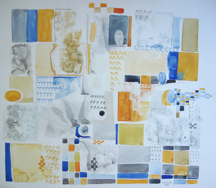 Sarah Frassinelli  W9 , 1964 watercolor and collage on paper 12 x 13 1/2 in.