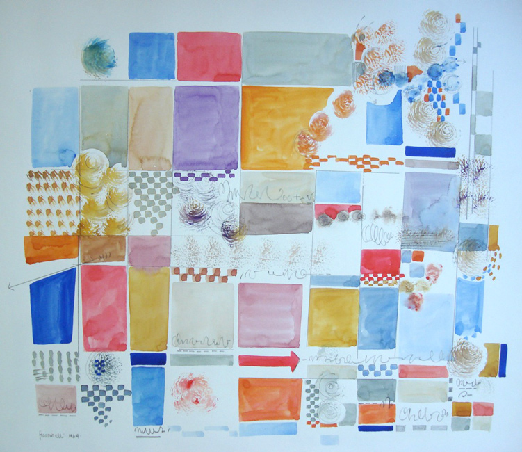 Sarah Frassinelli  W10, 1964 watercolor on paper 26 x 40 in. SOLD