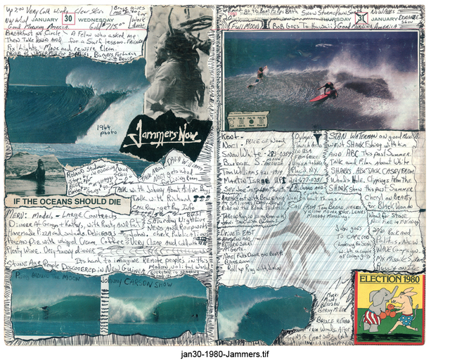 Tony Caramanico  The Surf Journals, Series 1: January 30, 1980 , 2001 available as: 16 1/4 x 18 3/4 in. print (edition of 12) 27 x 33 in. print (edition of 12) 34 x 43 in. (stretched canvas print, edition of 7) 4 x 55 1/5 in. (edition of 3)