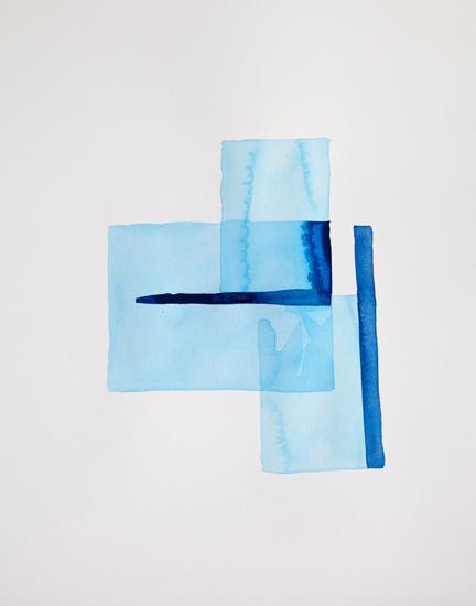 Bastienne Schmidt  Cyan Geometry I , 2013 mixed media on paper 30 x 22 in.